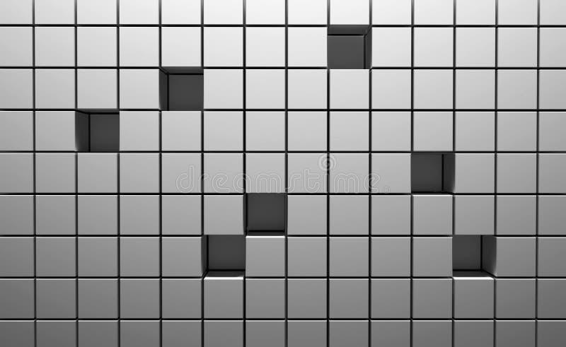 Abstrakt bakgrund av kuber i silverfärg illustration 3d royaltyfri illustrationer
