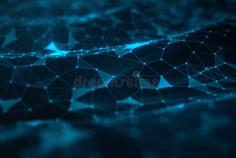 Abstrakt bakgrund av linjer och prickar, lågt poly ingrepp Internetuppkopplingteknologi Begrepp av nerv- anslutningar arkivfoton