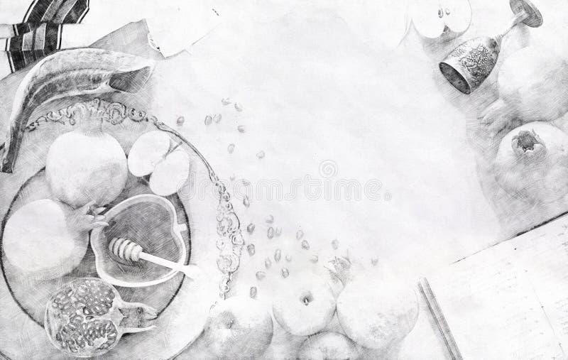 Abstrakt bakgrund av Rosh hashanah & x28; judisk holiday& x29 för nytt år; begrepp traditionella symboler Blyertspennan skissar s vektor illustrationer