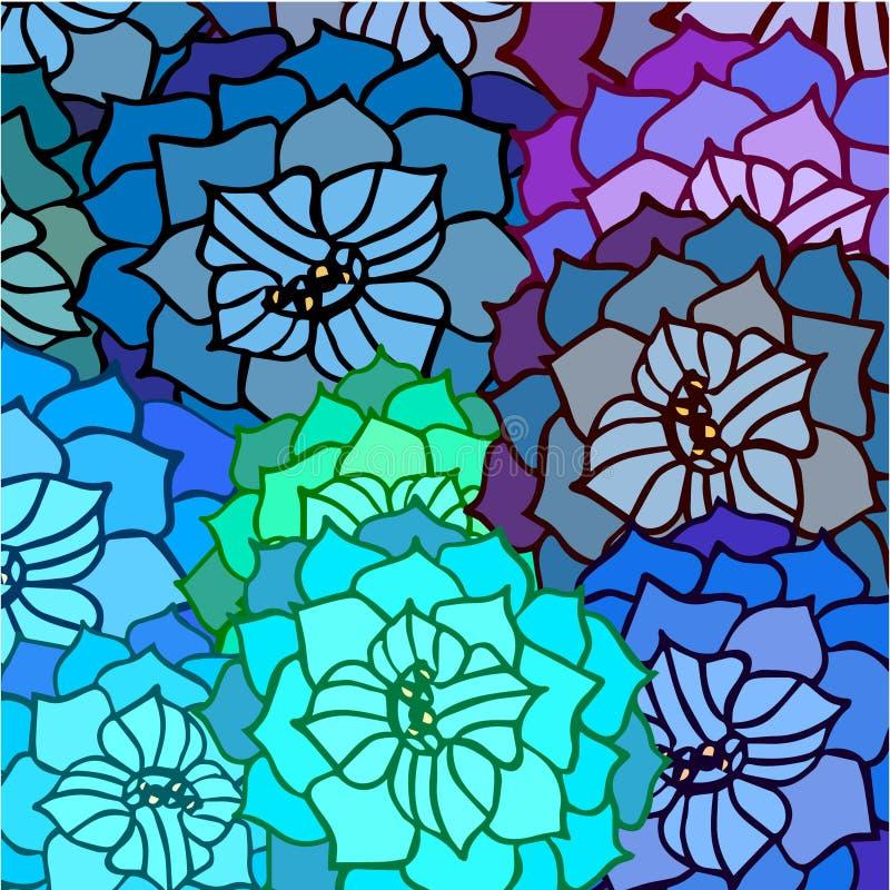Abstrakt bakgrund av sidor och blommor i modellen royaltyfri illustrationer