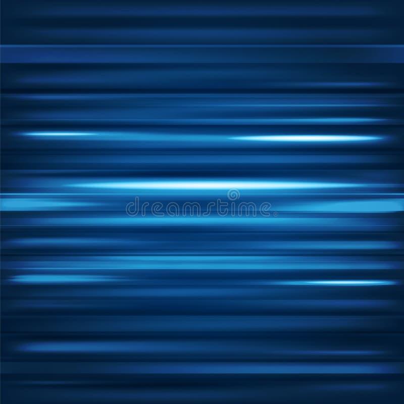 abstrakt bakgrund Blåa horisontallinjer för rörelse Vektortechno stock illustrationer