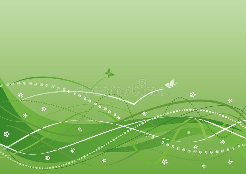 abstrakt bakgrund blommar gröna waves vektor illustrationer