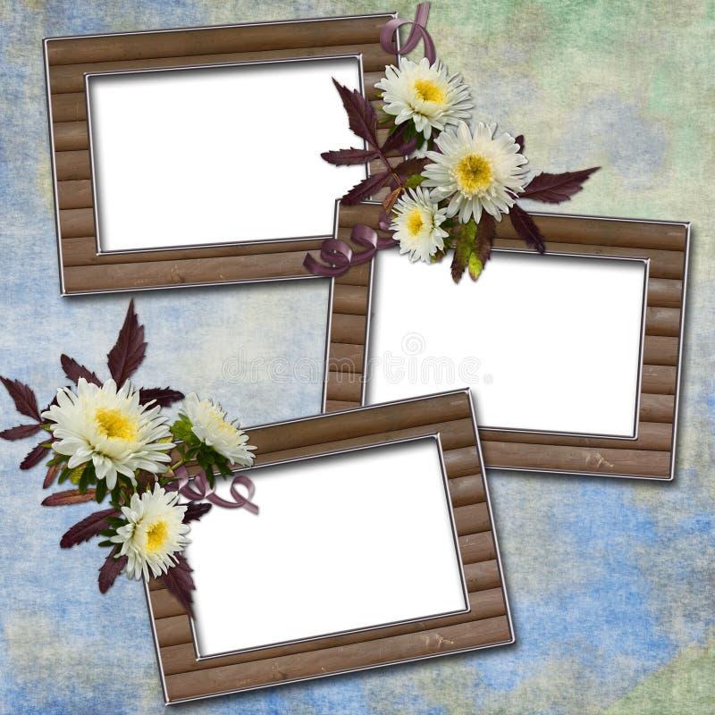 abstrakt bakgrund blommar ramar stock illustrationer