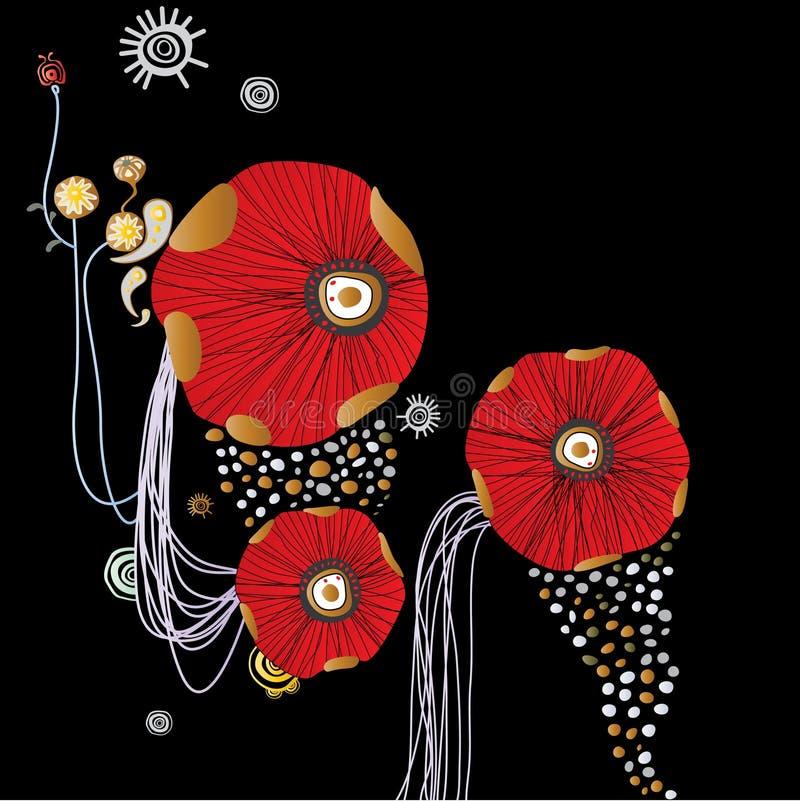 abstrakt bakgrund blommar red royaltyfri illustrationer