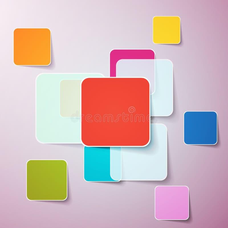 abstrakt bakgrund boxes färg Mall för en text vektor illustrationer