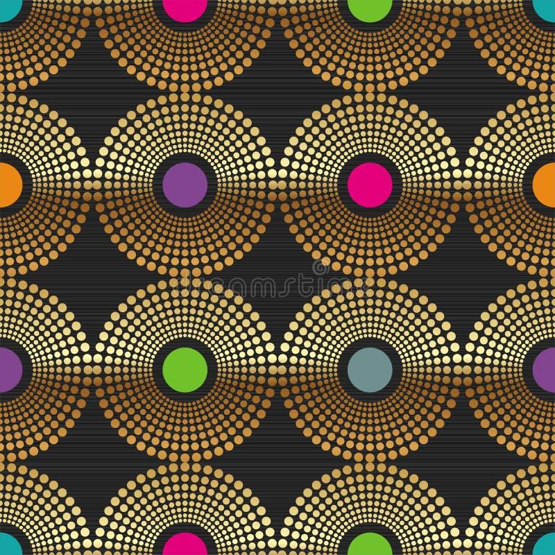 abstrakt bakgrund cirklar guld- seamless vektor illustrationer