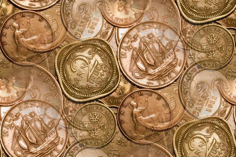 abstrakt bakgrund coins tappning royaltyfri bild