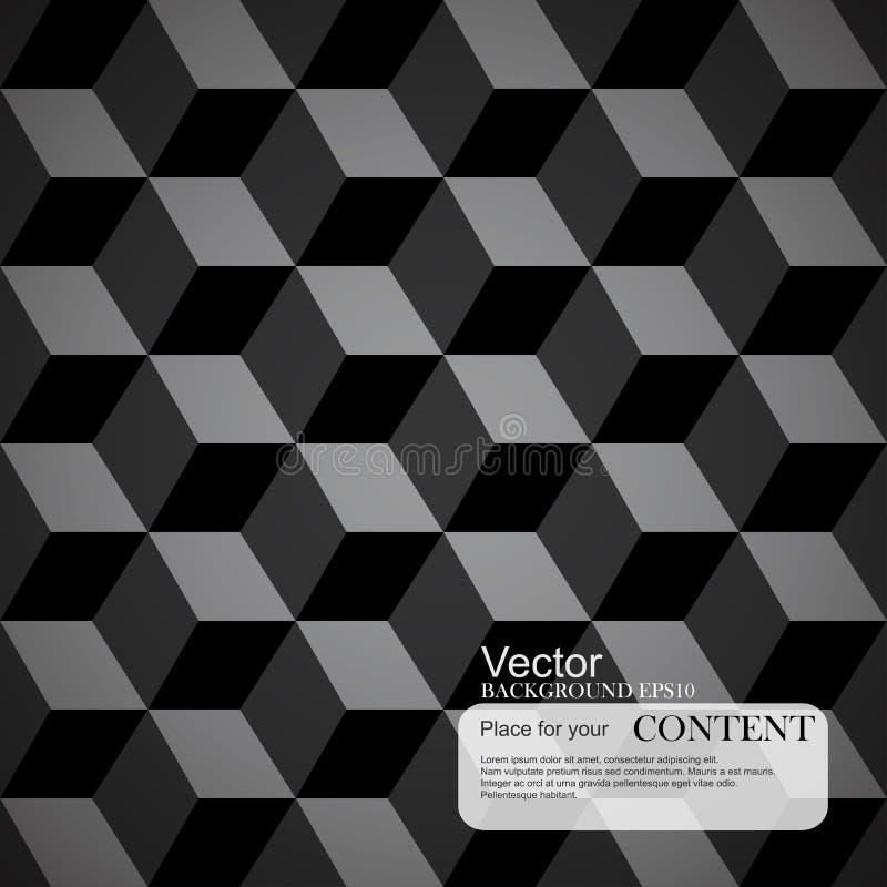 Abstrakt bakgrund, 3d kuber, svart textur royaltyfri illustrationer