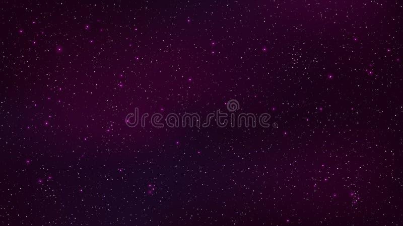 abstrakt bakgrund Den härliga stjärnklara himlen är purpurfärgad Stjärnaglödet i färdigt mörker fantastisk galax öppet utrymme ve stock illustrationer
