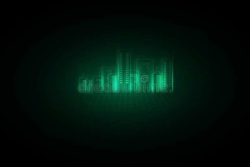 abstrakt bakgrund digitalt stadsbegrepp Abstrakt komplex struktur av staden ocks? vektor f?r coreldrawillustration royaltyfri illustrationer