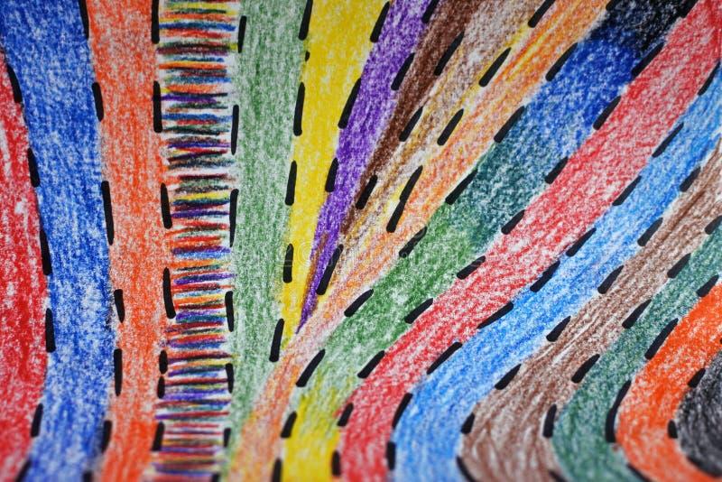 abstrakt bakgrund färgrika blyertspennaremsor Stil för barn` s fotografering för bildbyråer