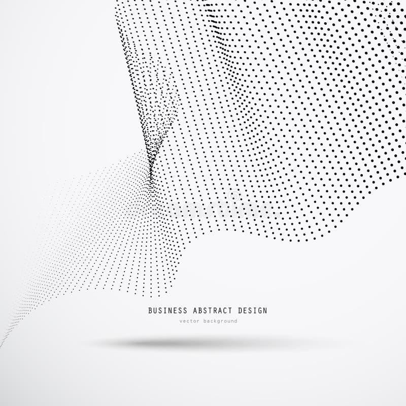 Abstrakt bakgrund för affär 3d av svarta rastrerade prickar med skugga och exempeltext stock illustrationer