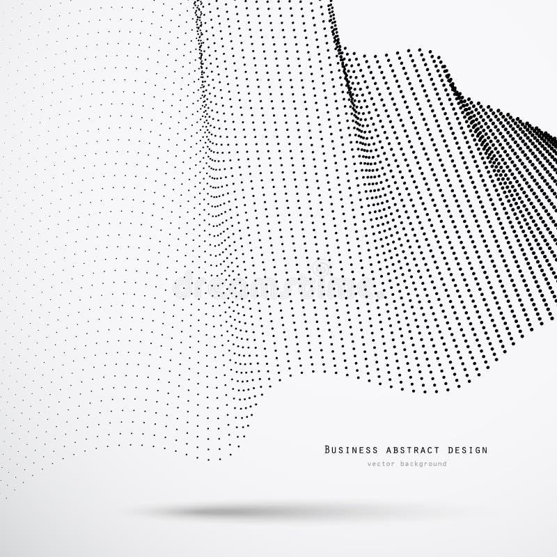 Abstrakt bakgrund för affär 3d av svarta rastrerade prickar med skugga och exempeltext vektor illustrationer