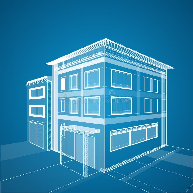 Abstrakt bakgrund för arkitektur 3d Byggnadswireframe royaltyfri illustrationer