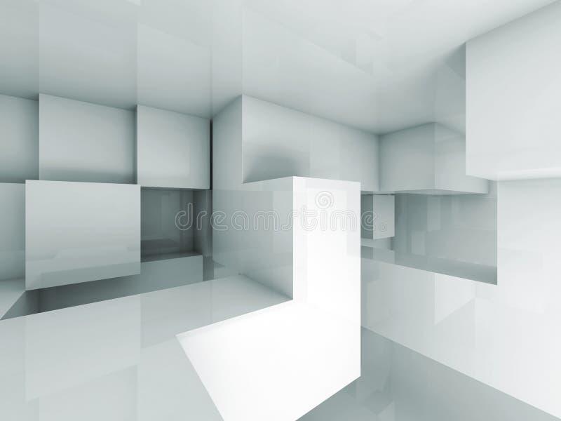 Abstrakt bakgrund för arkitektur 3d med kubstrukturen stock illustrationer