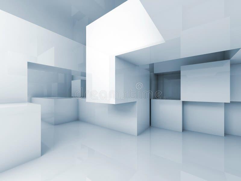 Abstrakt bakgrund för arkitektur 3d, tom inre vektor illustrationer