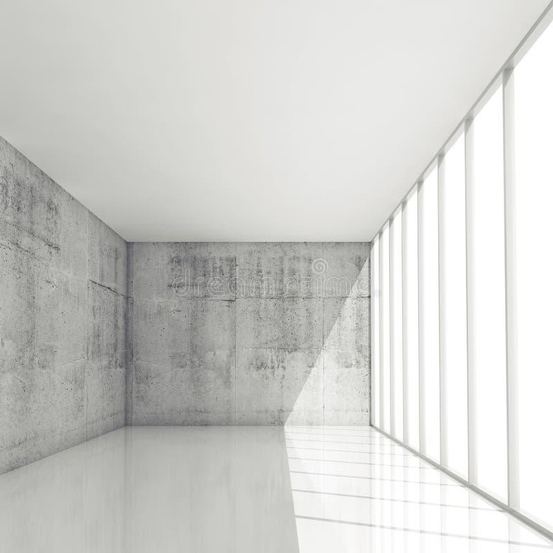 Abstrakt bakgrund för arkitektur 3d, tom vit inre royaltyfri illustrationer