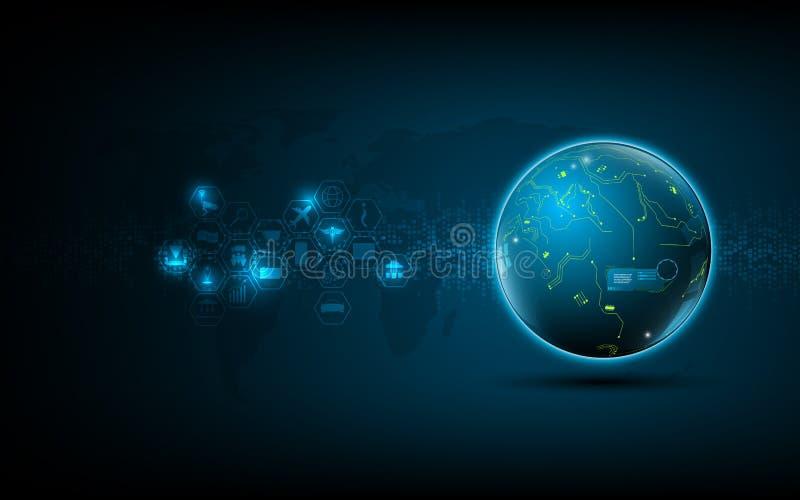 Abstrakt bakgrund för begrepp för innovation för teknologi för globalt nätverk stock illustrationer