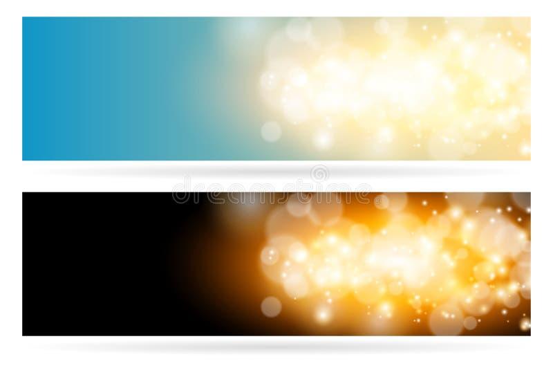 Abstrakt bakgrund för blått för magi för brusandemolnljus Den ljusa glödgnistan och bokeheffekthorisontalbanret ställde in vektor illustrationer