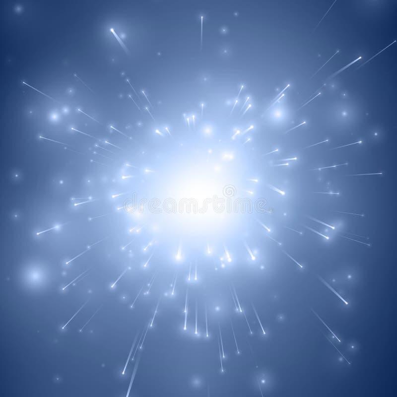 Abstrakt bakgrund för blått för vektorfyrverkeriexplosion med glänsande gnistor Berömfyrverkerier för nytt år Bristning av vektor illustrationer