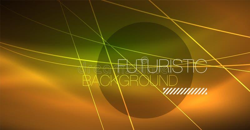 Abstrakt bakgrund för Digital teknologi - geometrisk design för neon abstrakt glödande linjer färgrik techno för bakgrund vektor illustrationer