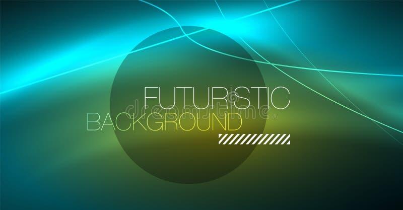 Abstrakt bakgrund för Digital teknologi - geometrisk design för neon abstrakt glödande linjer färgrik techno för bakgrund stock illustrationer