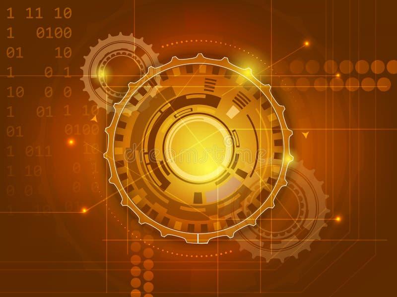 Abstrakt bakgrund för digital teknologi med kugghjul stock illustrationer