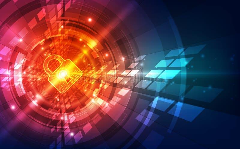 Abstrakt bakgrund för digital teknologi för säkerhet illustrationvektor vektor illustrationer