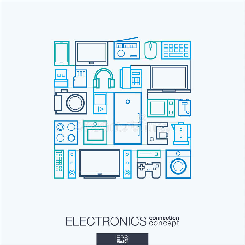 Abstrakt bakgrund för elektronik, inbyggd tunn linje symboler vektor illustrationer