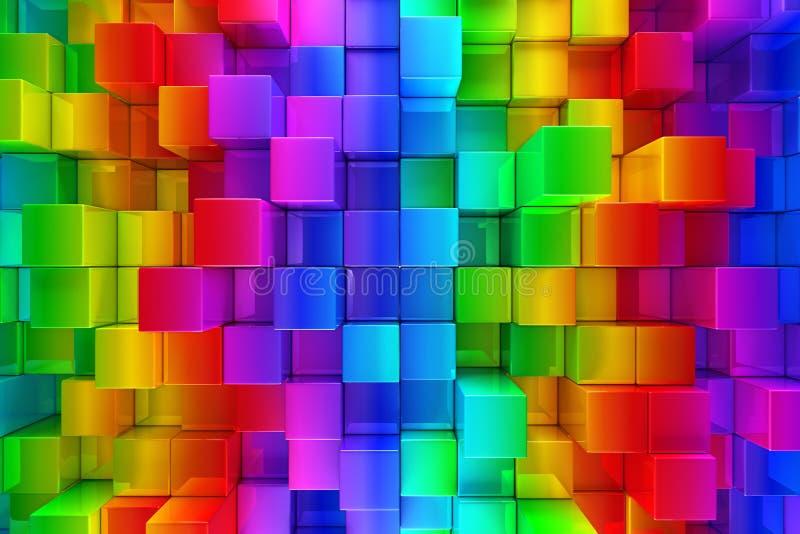 Abstrakt bakgrund för färgrika kvarter royaltyfri illustrationer
