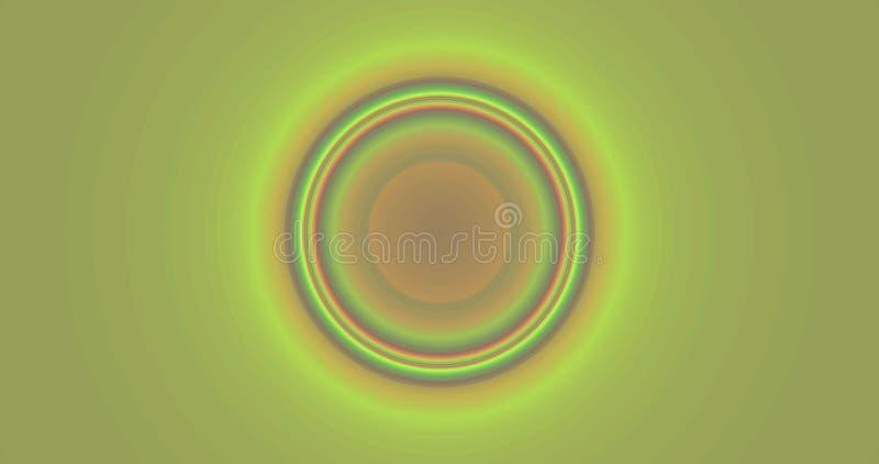 Abstrakt bakgrund för fractal 4k med en detaljerad rörande pulserar rund modell i rosa färger, gräsplan och guling stock illustrationer