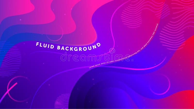 Abstrakt bakgrund för futuristisk vätska Geometriska former för vätskeblå rosa lutning Vektor f?r EPS 10 royaltyfri illustrationer