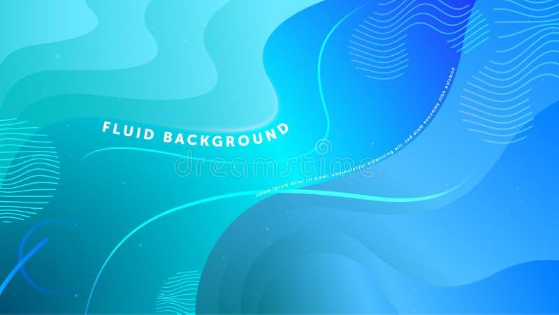 Abstrakt bakgrund för futuristisk vätska Vätske tänd - geometriska former för den blåa lutningen Vektor f?r EPS 10 royaltyfri illustrationer