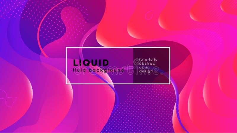 Abstrakt bakgrund för futuristisk vätska Vätskeblåa röda geometriska former för rosa lutning Vektor f?r EPS 10 royaltyfri illustrationer