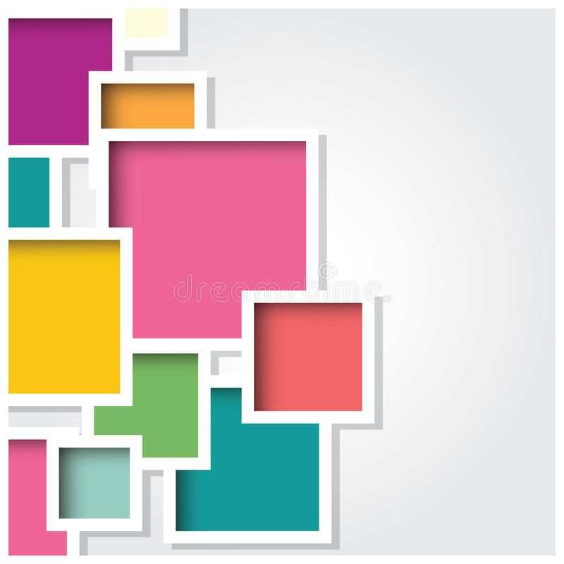 Abstrakt bakgrund för fyrkant 3d, färgrika tegelplattor som är geometriska, vektor vektor illustrationer