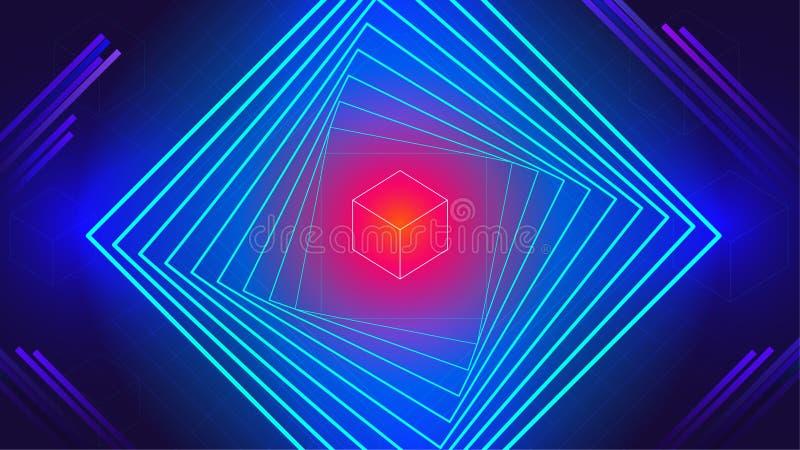 Abstrakt bakgrund för geometriska för dansmusik för tech elektroniska beståndsdelar royaltyfri illustrationer