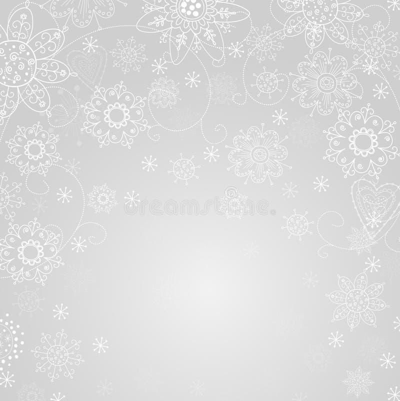 Abstrakt bakgrund för grå färg med snowflaken royaltyfri illustrationer