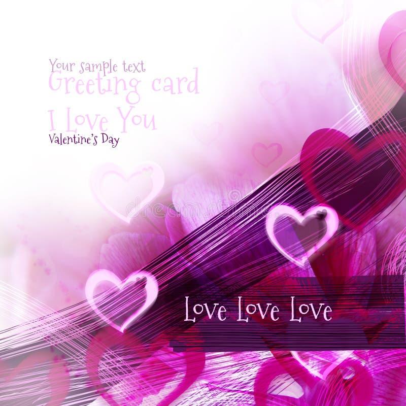 Abstrakt bakgrund för konst med rosa hjärtabevekelsegrund som hälsningskort royaltyfri illustrationer