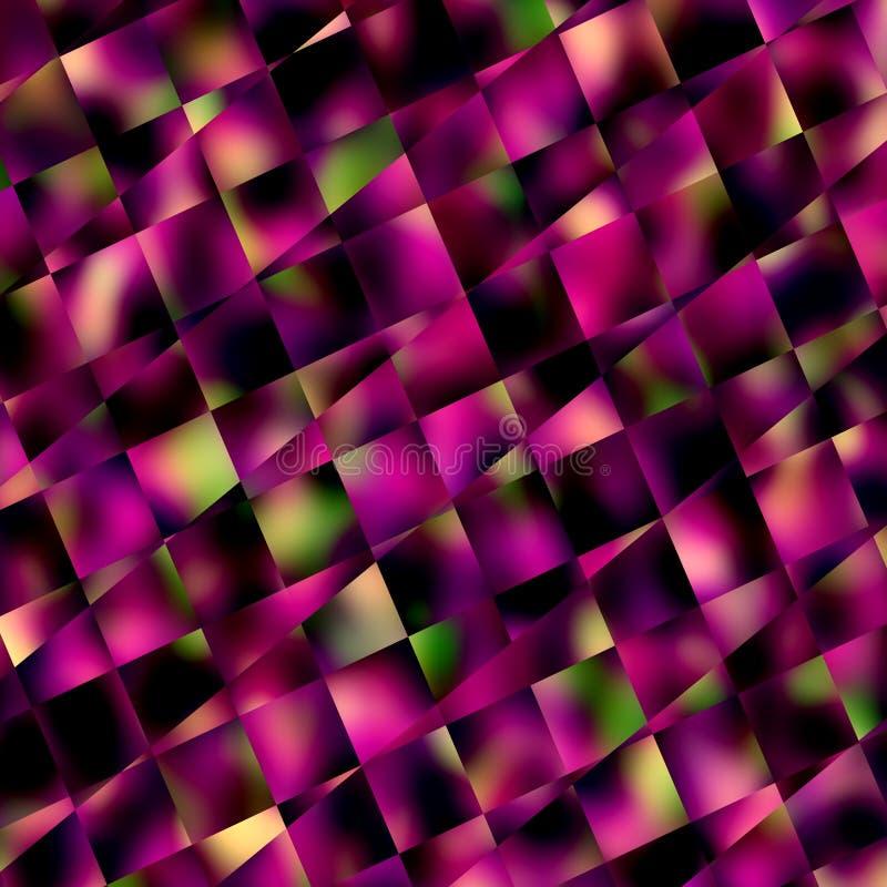Abstrakt bakgrund för lilafyrkantmosaik Geometriska modeller och bakgrunder Diagonalen fodrar mönstrar Kvartertegelplattor eller  vektor illustrationer