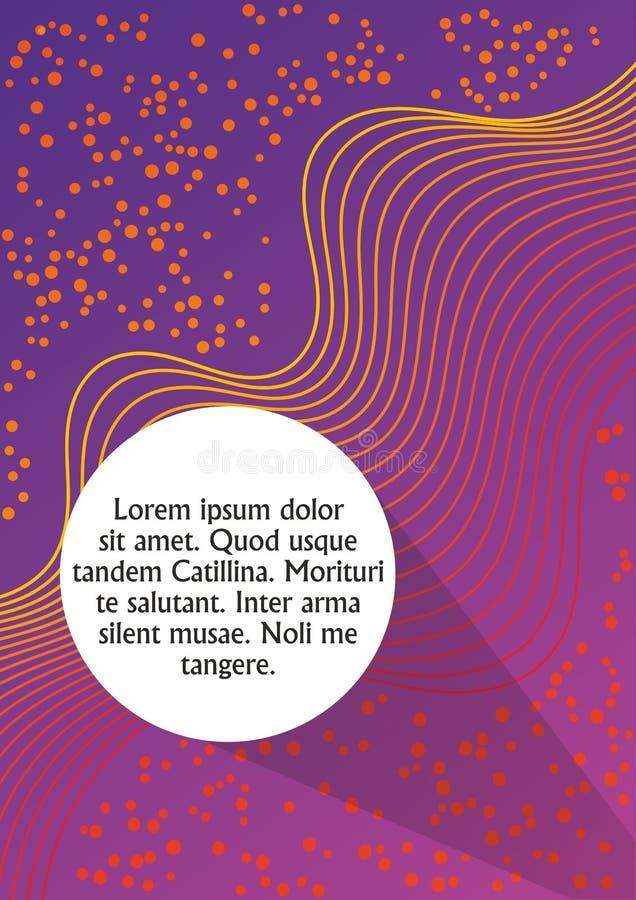 Abstrakt bakgrund för lilor och för apelsin med krabba remsor och med det vita fältet för cirkel för egen text Bokomslag urklipps royaltyfri illustrationer