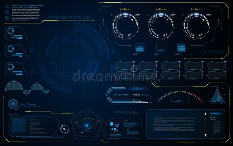 Abstrakt bakgrund för mall för design för conept för diagnostik för HUD UI manöverenhetsdata royaltyfri illustrationer