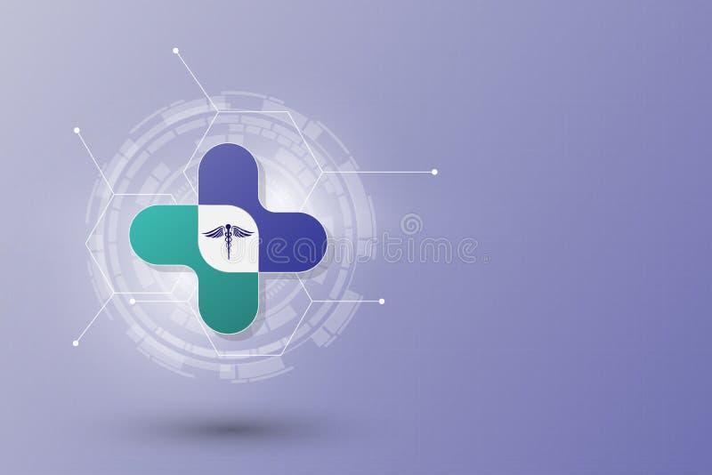 Abstrakt bakgrund för mall för hälsovårdinnovationbegrepp stock illustrationer