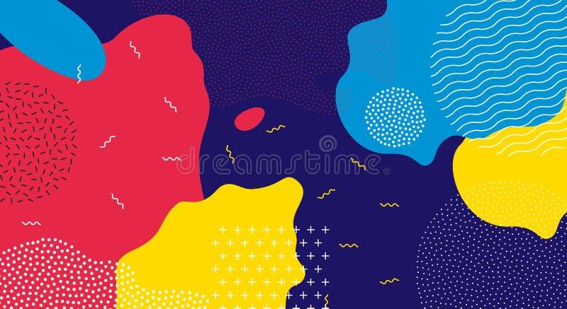 Abstrakt bakgrund för modell för färg för popkonst vätske stock illustrationer