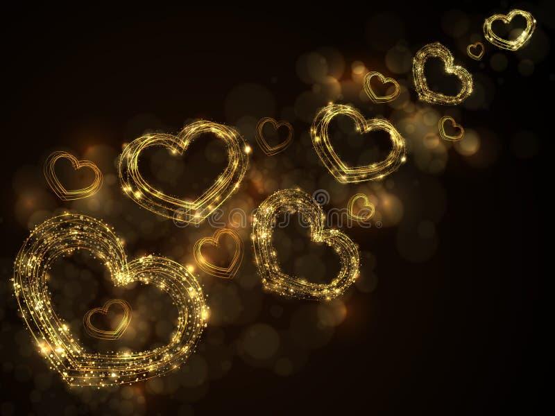 Abstrakt bakgrund för mousserande guld- hjärtor royaltyfri illustrationer