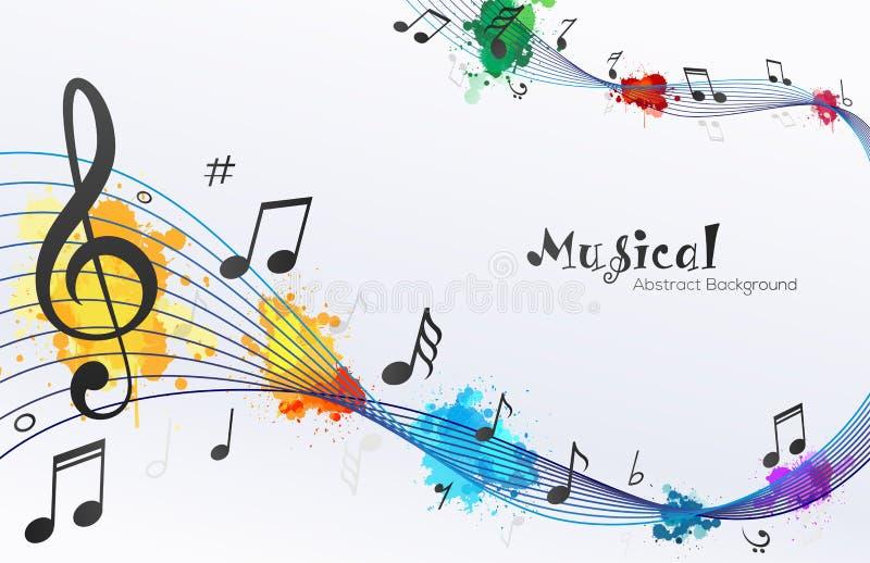Abstrakt bakgrund för musikaliska våganmärkningar royaltyfri illustrationer