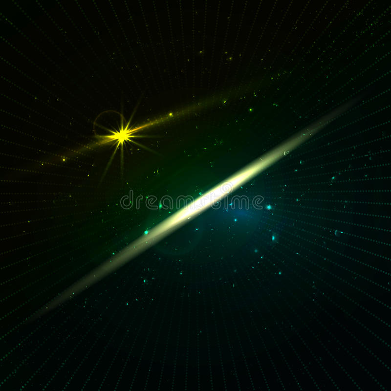 Abstrakt bakgrund för oändlighet med stjärnor och neonljus i mörker - gräsplan skuggar royaltyfri illustrationer