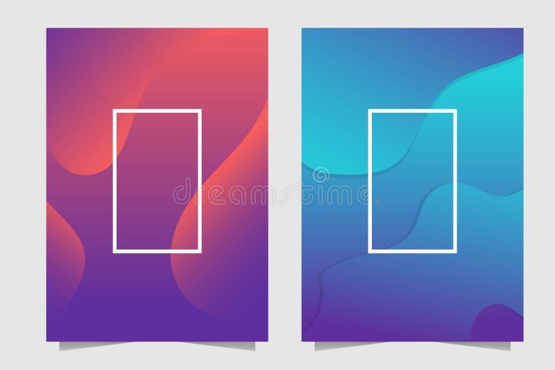 Abstrakt bakgrund för orange, Cyan, purpurfärgad och blå dynamisk vätskerörelse stock illustrationer