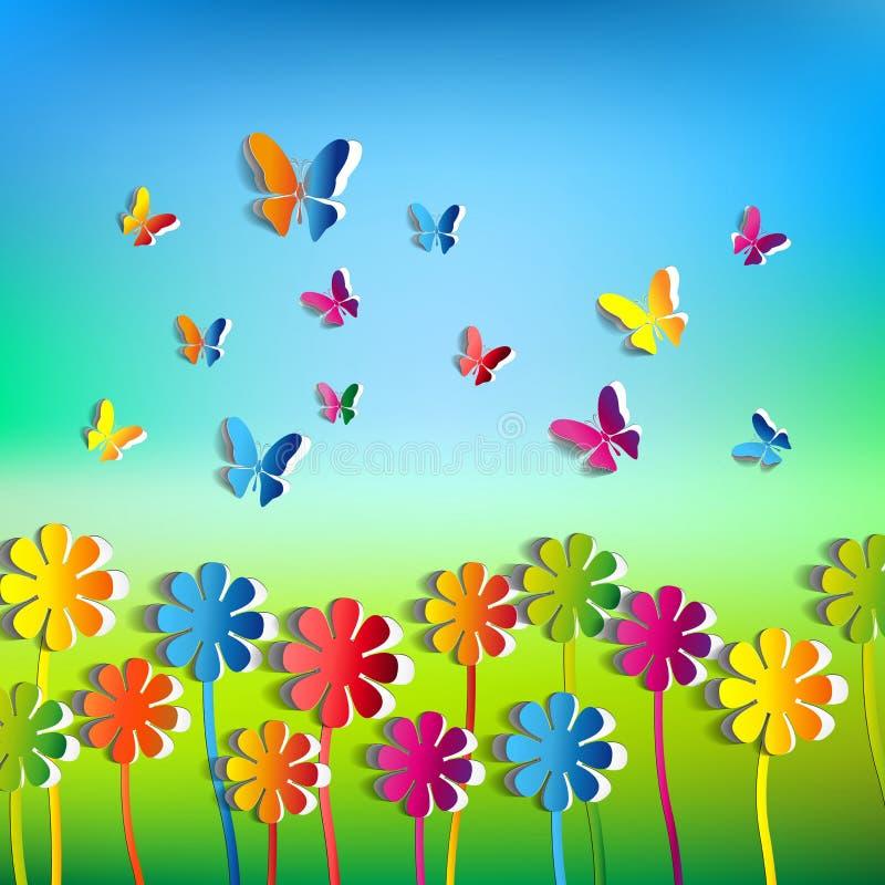 Abstrakt bakgrund för pappers- blommor - pappers- fjärilar - fjädra t