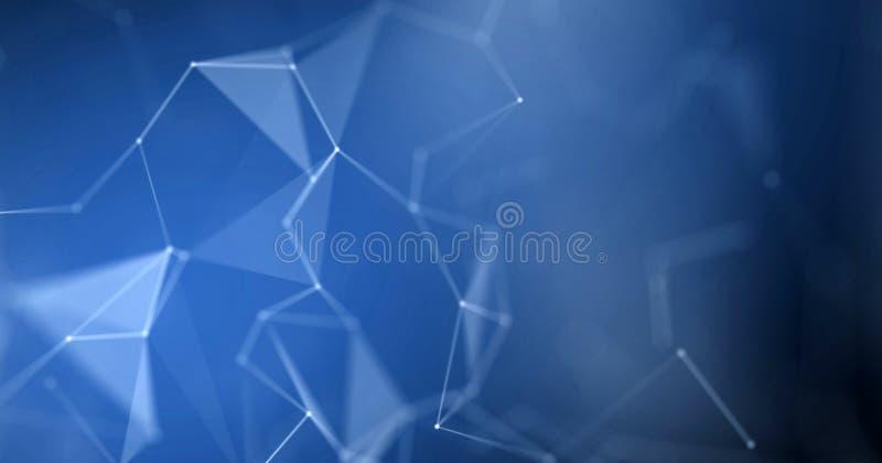 Abstrakt bakgrund för Plexus Blå ljus effekt för geometrisk polygonplexus stock illustrationer