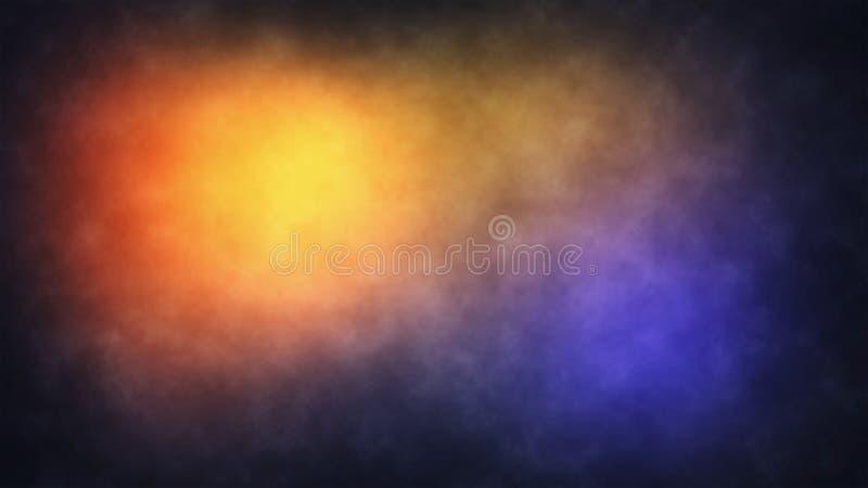 Abstrakt bakgrund för rökdimmafärg - subtil röd guling och blått stock illustrationer